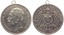 Baden - J 39 - 1909 G - Friedrich II. (1907 - 1918) - 3 Mark - ss mit Öse