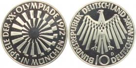 BRD - J 401b - 1972 - 10 Mark - Olympische Spiele 1972 in München - Spirale in München - 10 Mark - bankfrisch - Prägebuchstabe unserer Wahl