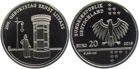 BRD - J 609 - 2016 - Ernst Litfaß - 20 Euro - bankfrisch