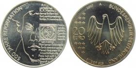 BRD - J 615 - 2017 - Reformation - Martin Luther - 20 Euro - bankfrisch
