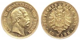 Hessen-Darmstadt - J 216 - 1875 H - Ludwig III. (1848 - 1877) - 10 Mark AU 58 (vz) - in NGC-Slab