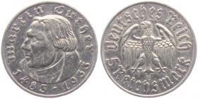 Drittes Reich - J 353 - 1933 E - Zum 450. Geburtstag von Martin Luther - 5 Reichsmark - ss