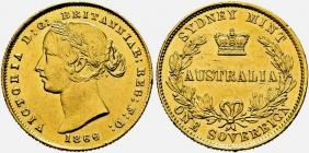 Australien - 1866 - Queen Victoria (1837 - 1901) - 1 Sovereign vz min. RF