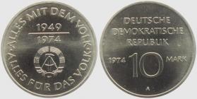 DDR - J 1551 P - 1974 - 25 Jahre DDR - Alles mit dem Volk - Silberbschlag - 10 Mark - st