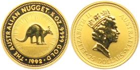 Australien - 1992 - Känguruh  - 25 Dollars - 1/4 Unze - st