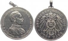 Preussen - J 114 - 1914 - Wilhelm II. (1888 - 1918) - Büste in Uniforn - 5 Mark - ss-vz mit Öse