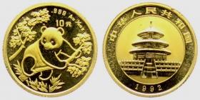 China - 1992 - Panda - 10 Yuan - 1/10 Unze - st