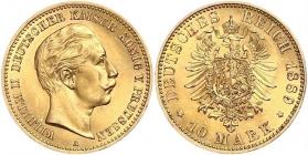 Preussen - J 249 - 1889 A - Wilhelm II. (1888 - 1918) - 10 Mark - MS 62 (vz-st) - in NGC-Slab