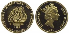 Cook-Inseln - 1991 - Olympische Spiele 1992 in Albertville und Barcelona - Olympisches Feuer - 250 Dollars - PP