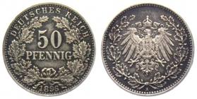 Kaiserreich - J 15 - 1896 A - 50 Pfennig - großer Adler - gutes vz