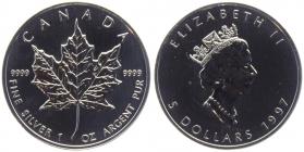 Kanada - 1997 - Maple Leaf - 1 Unze - 5 Dollars - originalverschweißt