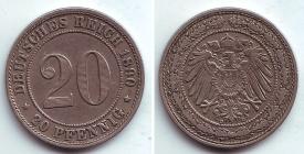 Kaiserreich - J 14 - 1890 D - 20 Pfennig - großer Adler - ss-vz