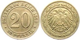 Kaiserreich - J 14 - 1890 G - 20 Pfennig - großer Adler - vz min. RF