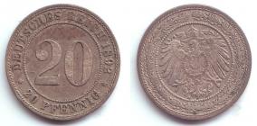 Kaiserreich - J 14 - 1892 A - 20 Pfennig - großer Adler - vz-st