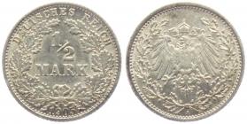 Kaiserreich - J 16 - 1905 A - 1/2 Mark - ss+