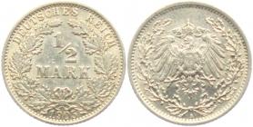 Kaiserreich - J 16 - 1905 A - 1/2 Mark - vz