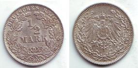 Kaiserreich - J 16 - 1905 D - 1/2 Mark - f.st
