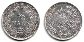 Kaiserreich - J 16 - 1905 D - 1/2 Mark - ss-vz