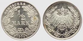 Kaiserreich - J 16 - 1905 D - 1/2 Mark - st