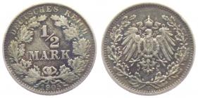 Kaiserreich - J 16 - 1905 E - 1/2 Mark - ss