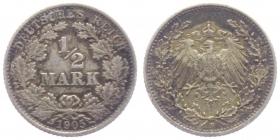 Kaiserreich - J 16 - 1905 F - 1/2 Mark - ss+