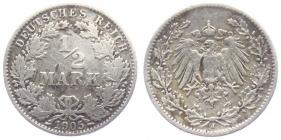 Kaiserreich - J 16 - 1905 J - 1/2 Mark - s-ss