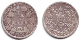 Kaiserreich - J 16 - 1905 J - 1/2 Mark - ss