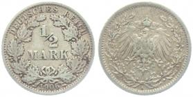 Kaiserreich - J 16 - 1906 A - 1/2 Mark - ss+