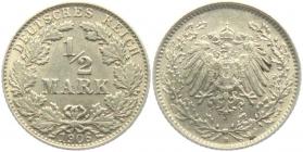 Kaiserreich - J 16 - 1906 D - 1/2 Mark - vz-st