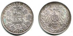 Kaiserreich - J 16 - 1906 D - 1/2 Mark - st