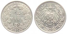 Kaiserreich - J 16 - 1906 E - 1/2 Mark - vz