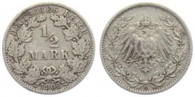 Kaiserreich - J 16 - 1906 G - 1/2 Mark - s