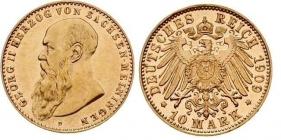 Sachsen-Meiningen - J 280 - 1909 D - Georg II. (1866 - 1914) - 10 Mark - in NGC-Slab AU 58 PL (vz+)