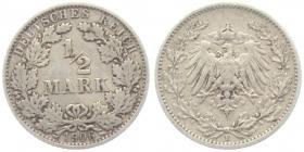 Kaiserreich - J 16 - 1906 E - 1/2 Mark - s-ss