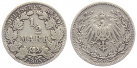 Kaiserreich - J 16 - 1905 F - 1/2 Mark - ss