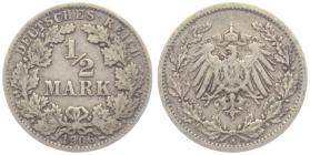 Kaiserreich - J 16 - 1906 A - 1/2 Mark - f.ss
