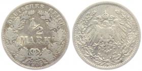 Kaiserreich - J 16 - 1906 A - 1/2 Mark - s-ss