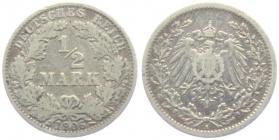 Kaiserreich - J 16 - 1906 A - 1/2 Mark - s
