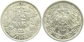 Kaiserreich - J 16 - 1906 A - 1/2 Mark - vz