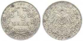 Kaiserreich - J 16 - 1906 D - 1/2 Mark - ss