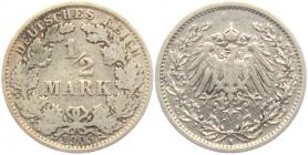 Kaiserreich - J 16 - 1905 A - 1/2 Mark - ss