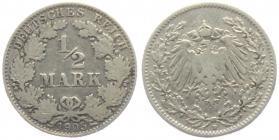 Kaiserreich - J 16 - 1905 D - 1/2 Mark - s-ss