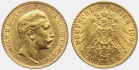 Preussen - J 252 - 1898 J - Wilhelm II. (1888 - 1918) - 20 Mark vz min. RF