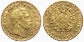 Hessen - J 217 - 1874 H - Ludwig III. von Hessen (1848 - 1877) - 20 Mark - ss
