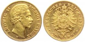 Bayern - J 197 - 1875 D - Ludwig II. (1864 - 1886) -  20 Mark - ss-vz