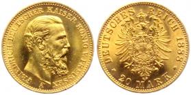 Preussen - J 248 - 1888 A - Friedrich III. (1888) - 20 Mark - st min. RF