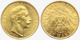 Preussen - J 252 - 1910 A - Wilhelm II. (1888 - 1918) - 20 Mark vz-st min. Kr.