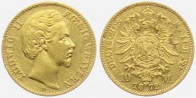 Bayern - J 193 - 1872 D - König Ludwig II. von Bayern (1864 - 1886) - 10 Mark - ss-vz min. RF