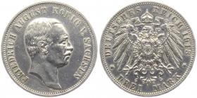 Sachsen - J 135 - 1913 E - Friedrich August III. (1904 - 1918) - 3 Mark - ss-vz