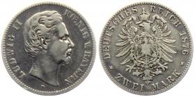 Bayern - J 41 - 1876 D - König Ludwig II. von Bayern (1864 - 1886) - 2 Mark - ss